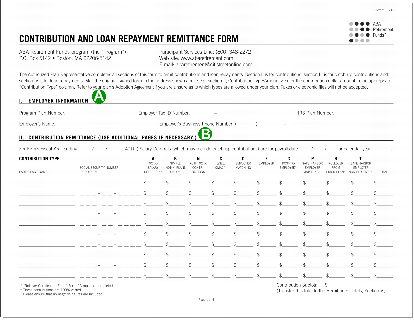 Contribution and loan payment remittance form, page one.