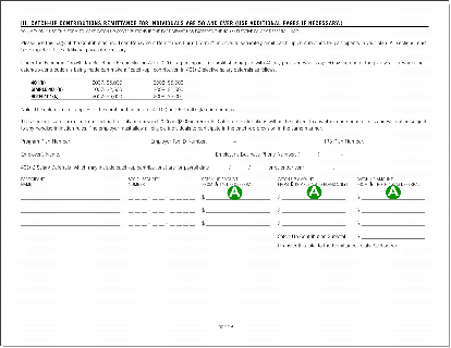 Contribution and loan payment remittance form, page two.