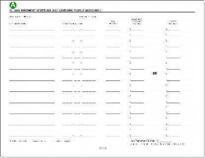 Contribution and loan payment remittance form, page three.