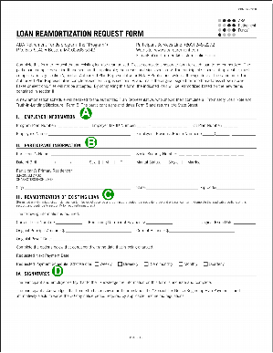 Retirement fund loan reamortization request form.