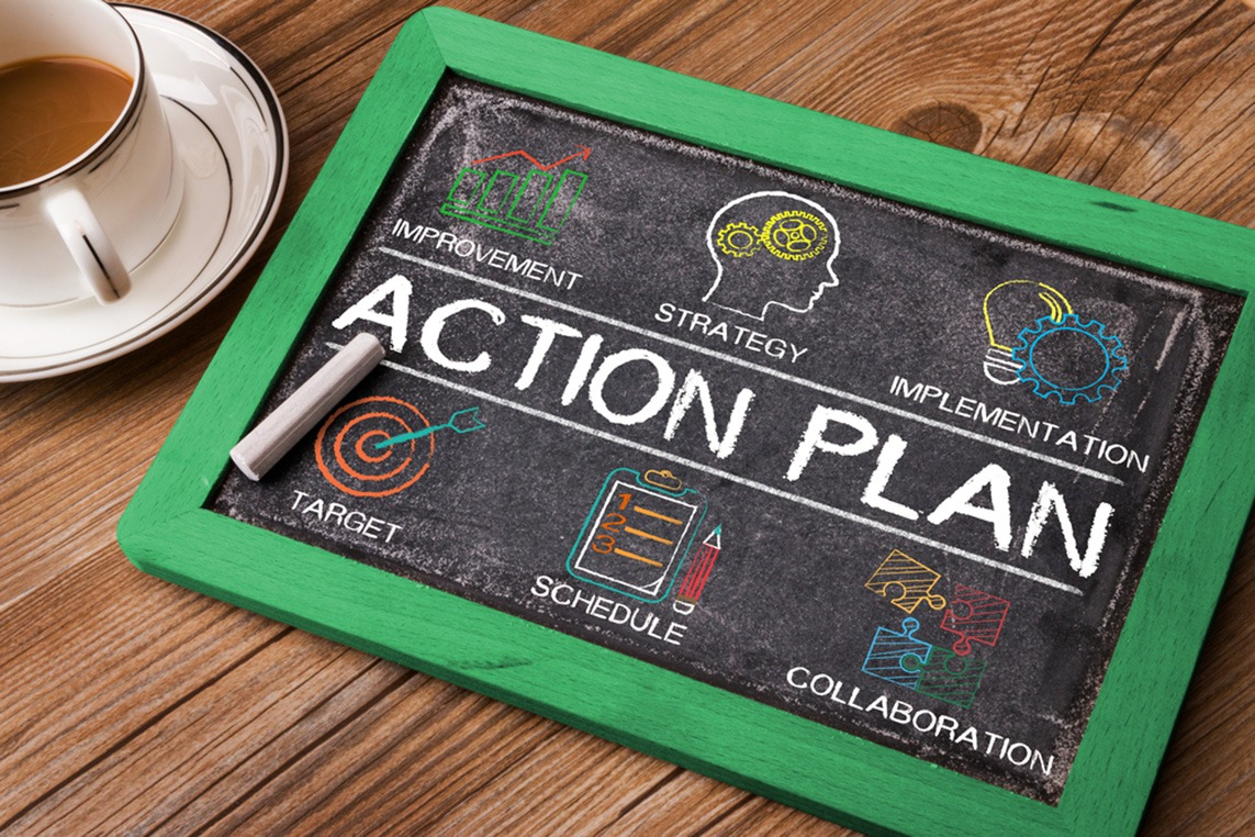 Detailed action plan drawn on a small chalkboard.