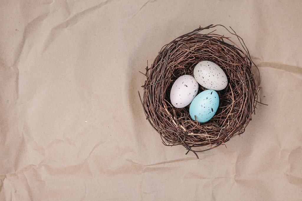Three eggs in a bird's nest.