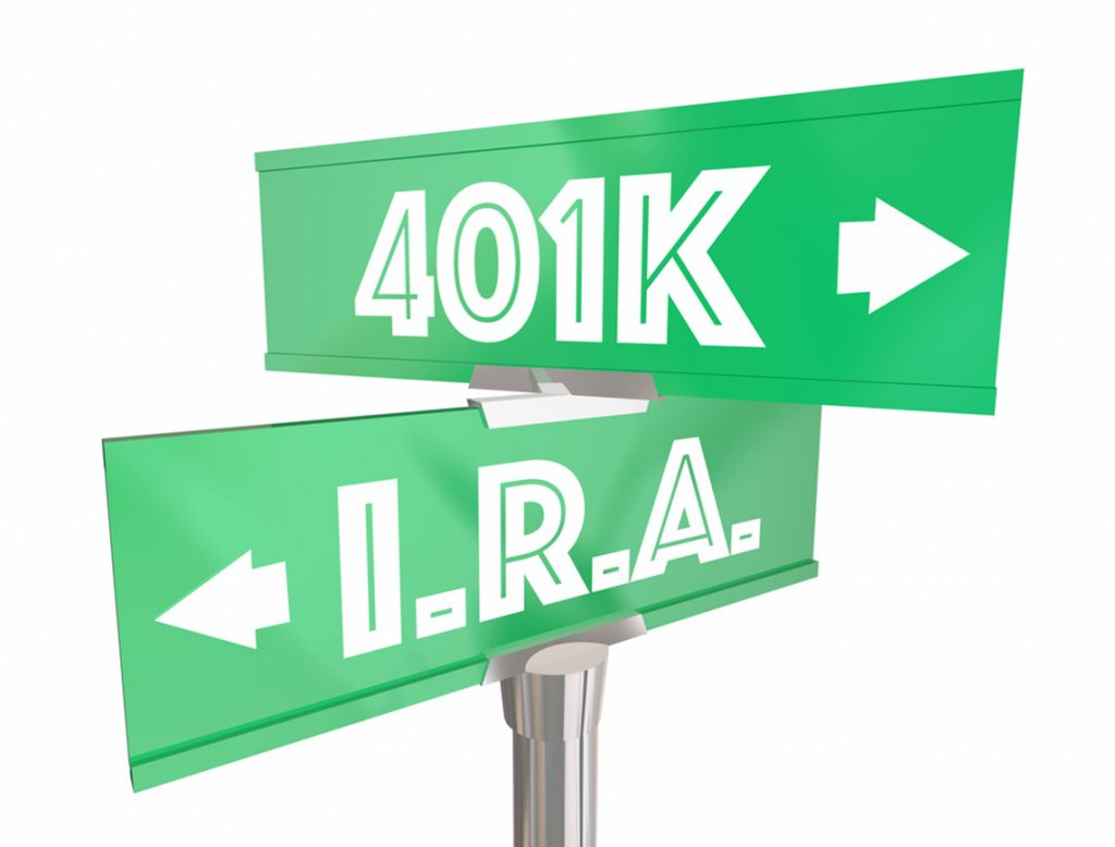 401k vs ira arrow signs